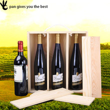 Pan christmas 3 bottles cheap wood wine gift box with custom logo , wooden wine box for sale
