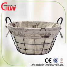 iron woven storage basket wicker picnic basket handmade gift basket on sale
