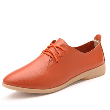 casual moccasins shoes pointed toe ladies flats plain soft leather women lace up flat shoes