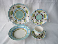 20pcs Leaves in light blue design Ceramic Handpainted porcelain dinner set for family use