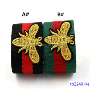 Gold Bee Embroidered Fabric Tie Bracelet