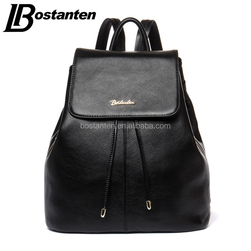 wholesale genuine leather drawstring backpack school bag for college girl