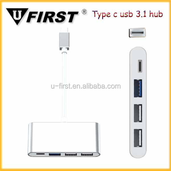 New Super Speed Multiple 4 Port Type-C Hub Adapter, Hot Selling USB 3.1 with PD Charging USB Type C Hub