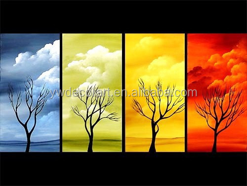 Ready to Hang Group 4 seasons tree oil painting