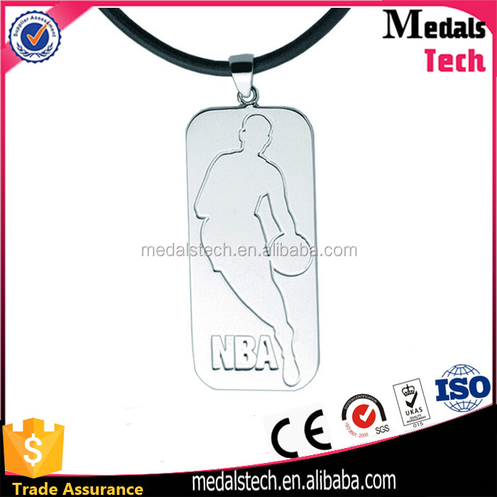 Personalized custom embossed logo metal basketball dog tags