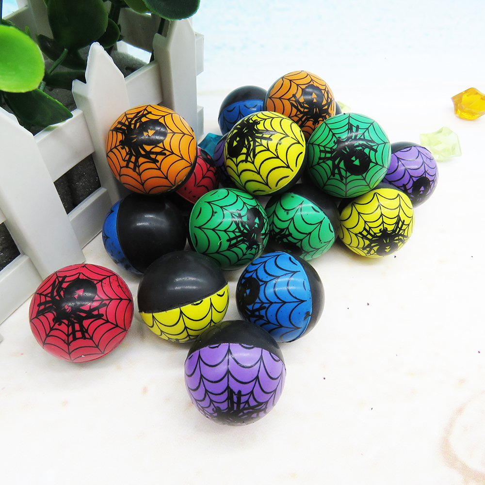 Mix color cheap rubber stress balls printed animal black bouncing balls spider net bounce ball