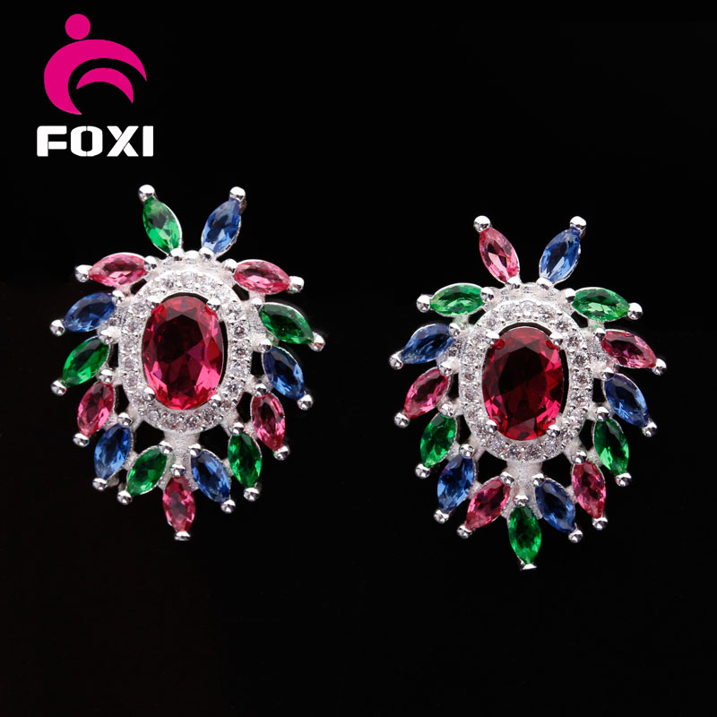 High Quality Fashion Diamond Gemstone Stud Earrings