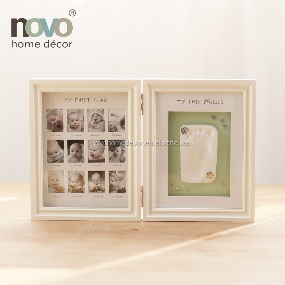 Wall Mount Table Top Picture Frame -- Bifold Newborn Baby Handprint ...