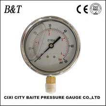 High quality bottom connection high pressure all stainless steel gauges