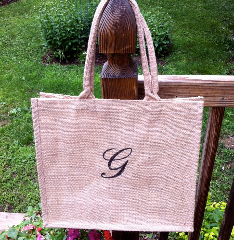 Large jute burlap tote bag with personal initial or your design