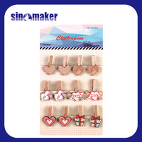 spring design s/4 beautiful wooden clothes pegs/pins/clips