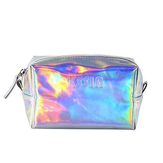 Shiny Silver PVC Holographic Makeup Bag Cosmetic Bags Makeup Pouch Toiletry Storage Wash Bags