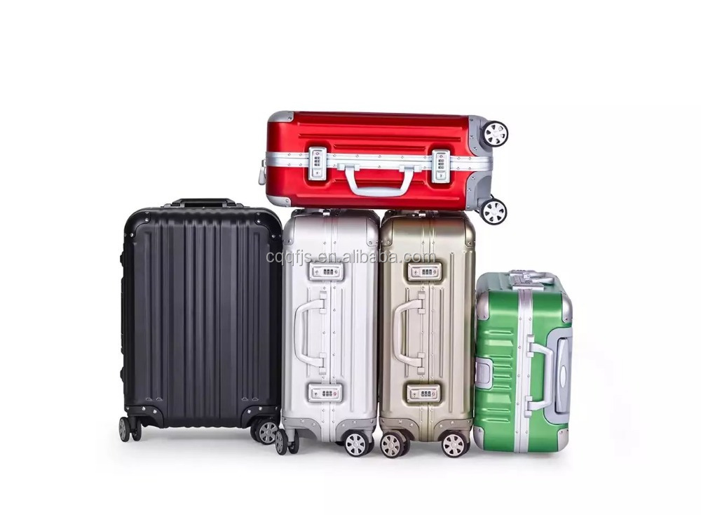 Aluminum-magnesium alloy trolley spinner high quality luggage, red aluminum case, high-end rolling travel suitcase