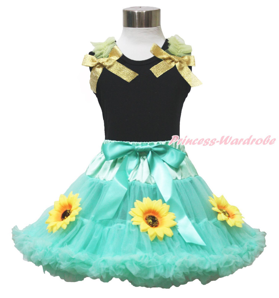 Princess Anna Summer Sunflower Aqua Blue Skirt Black Top Ruffle Girl Outfit 1-8Y
