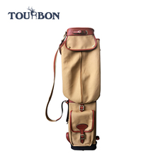 Outdoor classic golf club bag hold 6 sticks golf travel bags canvas and PU antique leather golf bags