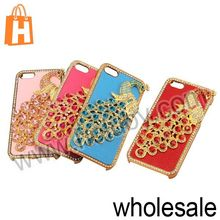 2013 New Product for iPhone 5S Case Cover,3D Peacock Diamond Studded Leather Coated Electroplating Hard Case for iPhone 5S 5