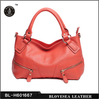 Double Zippers Shell Pink Sweet Lady Elegant Genuine Cowhide Red Leather Handbag