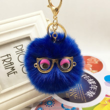 Rex Rabbit fur pom poms ball keychain bag pendant accessories cute Small Monster Glasses Car Key rings