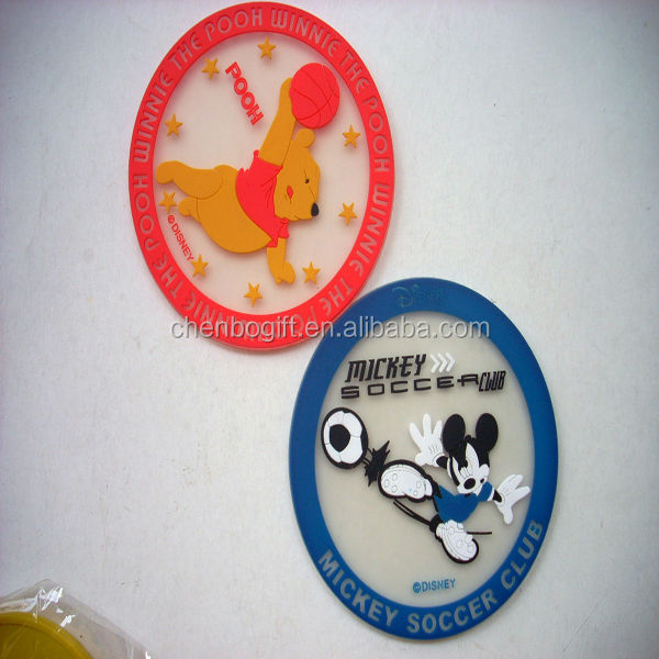 good advertising cartoon animal logo printed round rubber soft pvc coasters