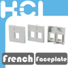 Made in Taiwan French Type RJ45 Keystone 2 Port Single Gang Faceplate Bezel