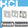 Network French Type RJ45 Keystone 2 Port Single Gang Faceplate Bezel