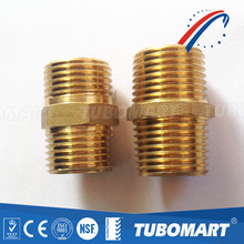 NPT brass threaded coupling brass nipple fittings straight connector with high quality