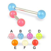 14 ga Glow in the dark arcylic ball straight barbell tongue piercing