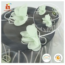 Hot selling fancy design transparent colorful 3D flower applique organza embroidery lace for wedding dress