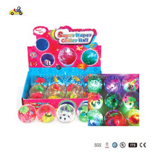 Kids Have Fun Toys LED Light up Jumping Ball Glitter Water Ball Elastic Colorful Flashing Ball