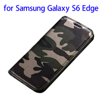 2015 New Products Camouflage Style Leather for Samsung Galaxy S6 Edge Flip Cover