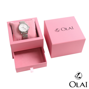 Gift Paper Logo Custom Watch Box Pink Box With Drawer