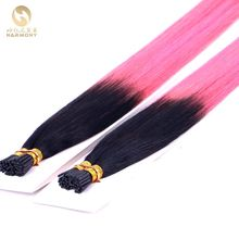 Customized dip dye ombre pink remy 1g stick tip hair extensions with Italian Keratin I tip bond