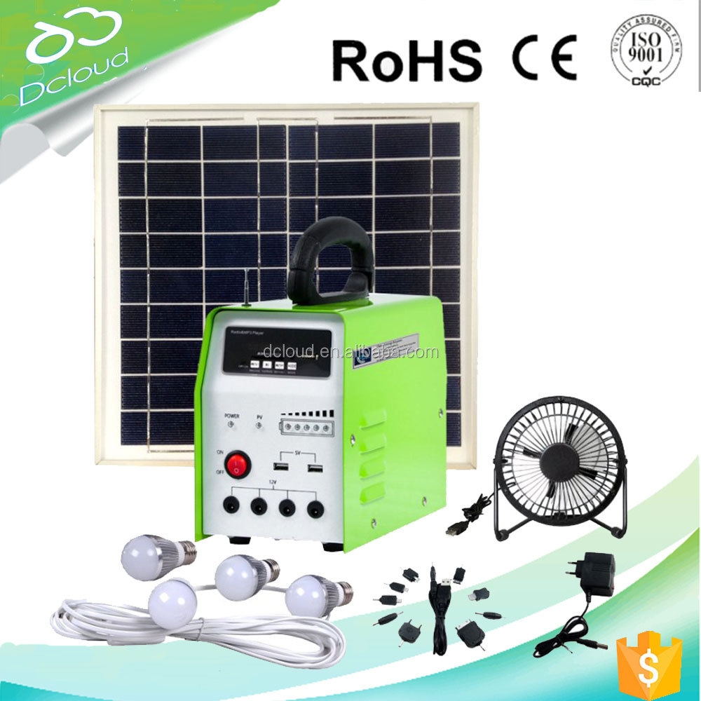 10w portable solar power system with FM radio&MP3 player