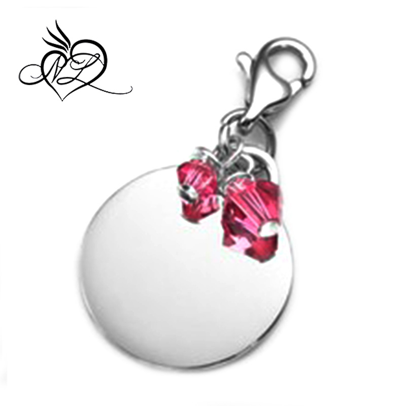 October Birthstone Personalized Stainless Steel Charm with Lobster Clasp 3/4 Inch