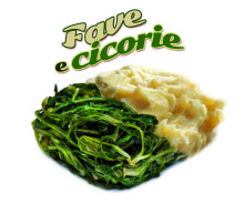 Fava beans and chicory. Frozen food, portion: 300 g. or 2.5 Kg. Italian regional traditional speciality.