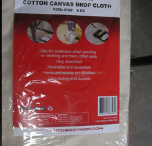 6x9 canvas drop cloth sheet with plastic backed