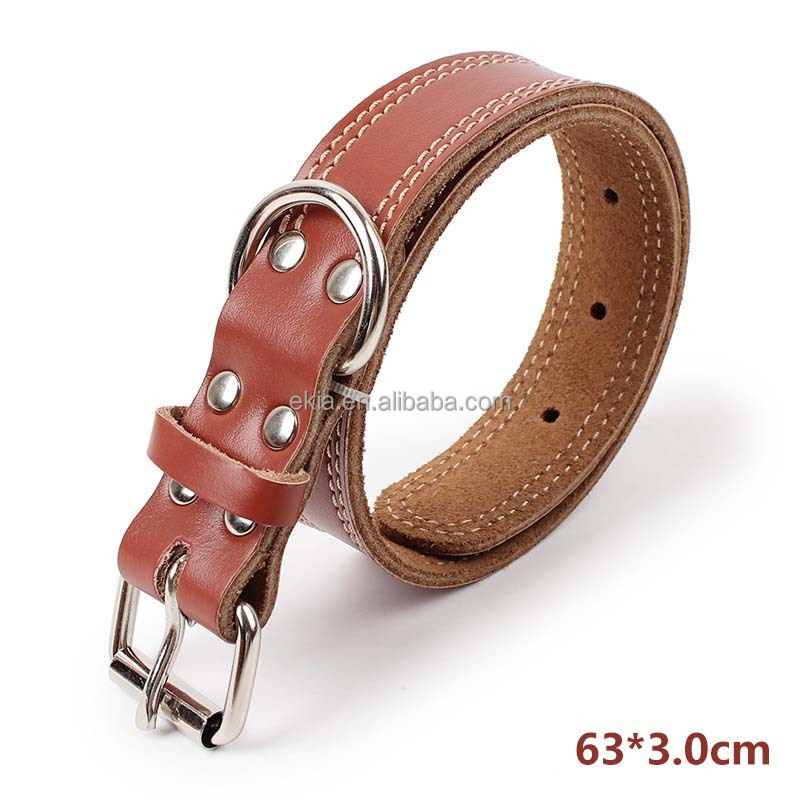 2017 Luxury Sturdy Genuine Cattle Leather Dog Collar Leather
