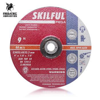 9'' 230x3x22mm Abrasive depressed centre steel cutting discs for metal steel