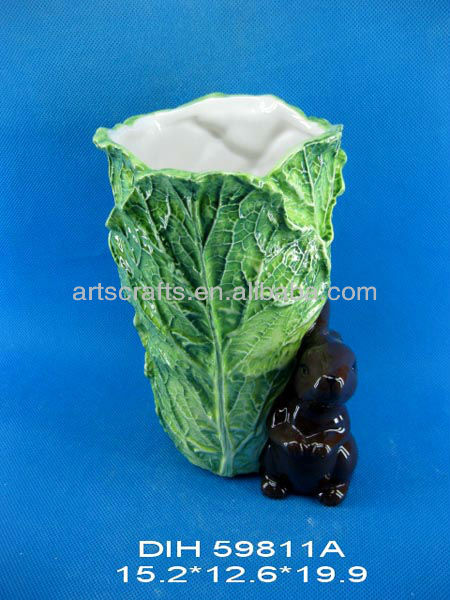 Vegetable shape ceramic vase and Easter bunny