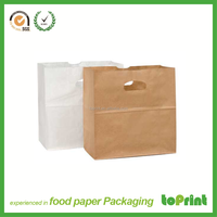 Custom printed food grocery shopping brown kraft paper bag free production sample