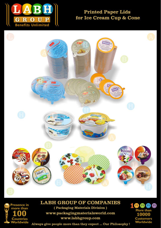 Printed Paper Lids for Ice Cream Cup & Cone