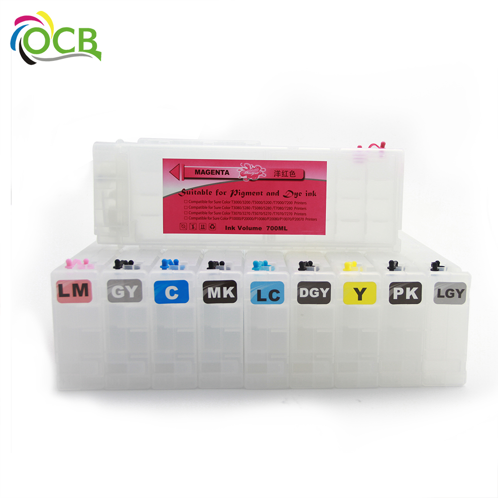 Ocbestjet 700ML/PC T8020-T8029 Empty Refillable Ink Cartridge With <strong>Chip</strong> For Epson P10080 P20080 Printer