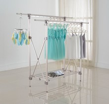 Hot Sale Aluminium Double Pole Expandable Clothes Drying Disply Stands Rack