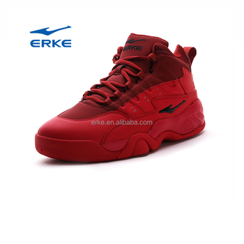ERKE wholesale brand fashion red lace up high ankle basketball shoes