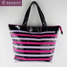 Printing stripes women leather tote bag