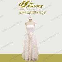 White simple handmade flower appliqued princess puffy strapless pleated long bridesmaid