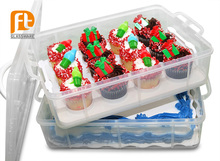 best selling colorful two tier cake storage box portable cup cake container unbreakable