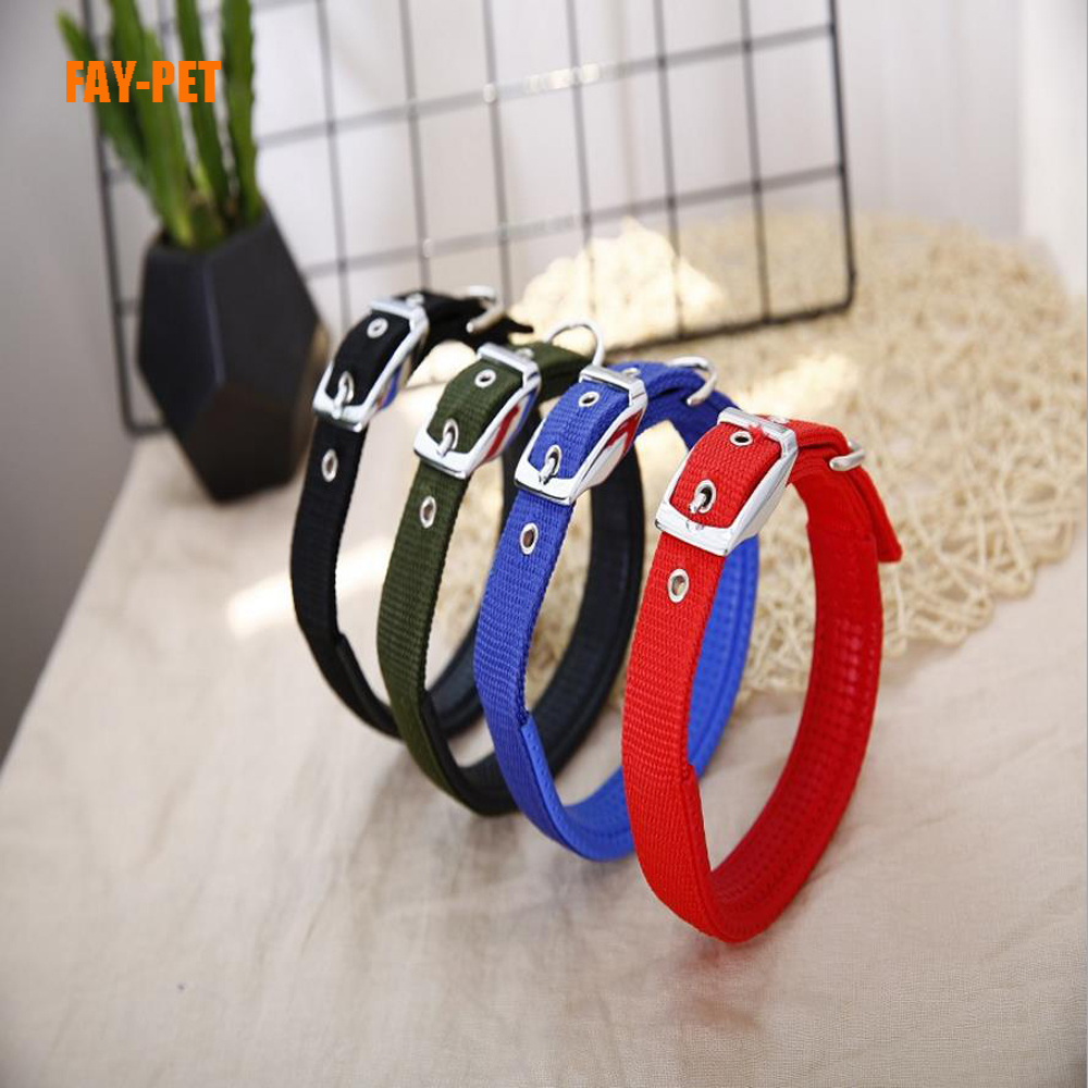 Economic nylon webbing dog collar solid soft padded supreme plain nylon dog collar