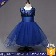 Commercio all'ingrosso blu puffy tulle breve anteriore e posteriore lungo flower girls dress