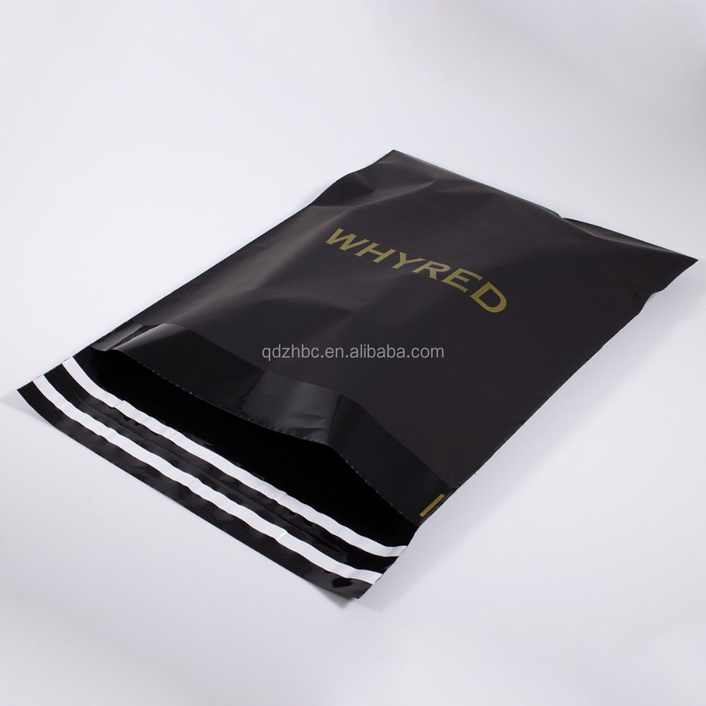 Plastic shipping courier Custom printed Matte black poly mailer manufacturer